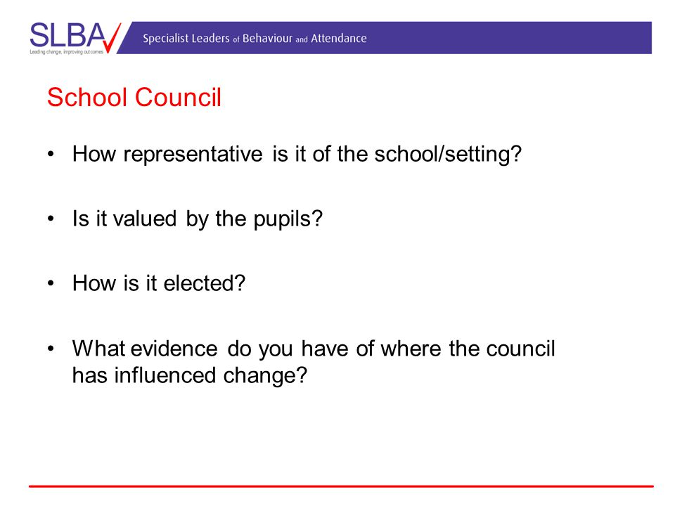School Council How representative is it of the school/setting.