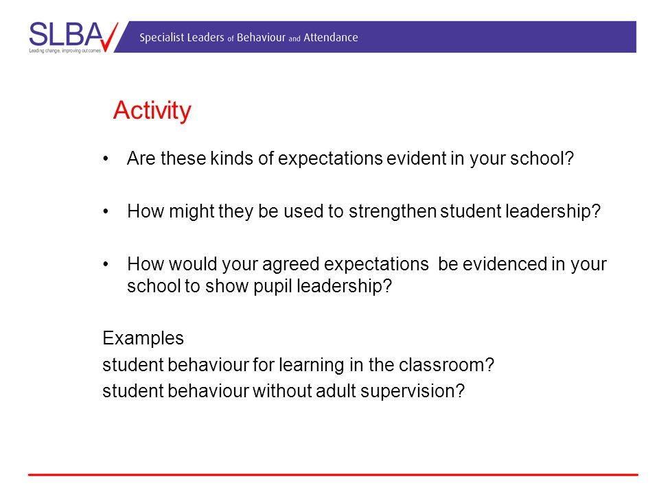 Activity Are these kinds of expectations evident in your school.