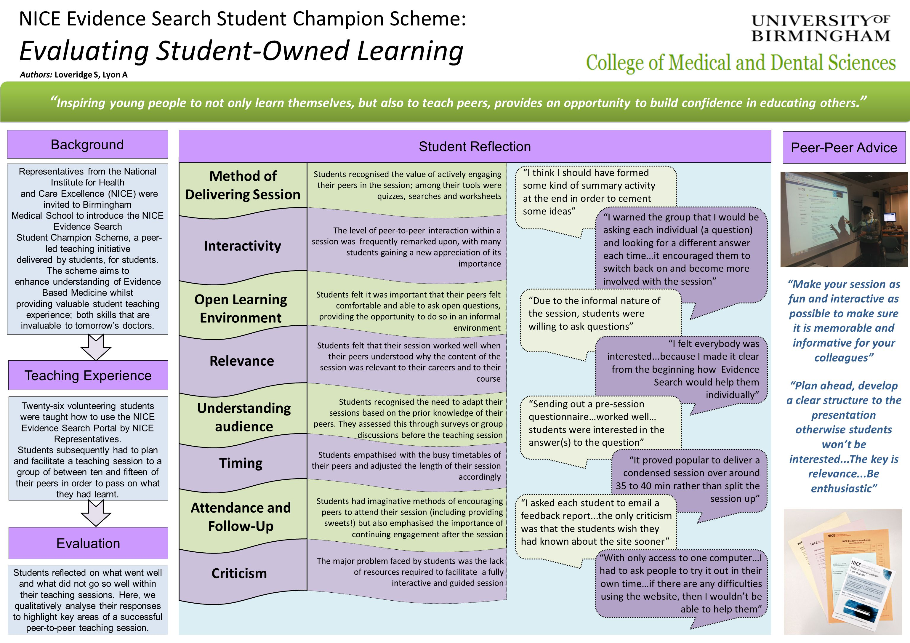 Criticism NICE Evidence Search Student Champion Scheme: Evaluating Student-Owned Learning Teaching Experience Background Peer-Peer Advice Evaluation Inspiring young people to not only learn themselves, but also to teach peers, provides an opportunity to build confidence in educating others. Method of Delivering Session Open Learning Environment Interactivity Relevance Understanding audience Timing Attendance and Follow-Up Students recognised the value of actively engaging their peers in the session; among their tools were quizzes, searches and worksheets The level of peer-to-peer interaction within a session was frequently remarked upon, with many students gaining a new appreciation of its importance I think I should have formed some kind of summary activity at the end in order to cement some ideas Students felt it was important that their peers felt comfortable and able to ask open questions, providing the opportunity to do so in an informal environment Due to the informal nature of the session, students were willing to ask questions Students felt that their session worked well when their peers understood why the content of the session was relevant to their careers and to their course I felt everybody was interested...because I made it clear from the beginning how Evidence Search would help them individually Students recognised the need to adapt their sessions based on the prior knowledge of their peers.