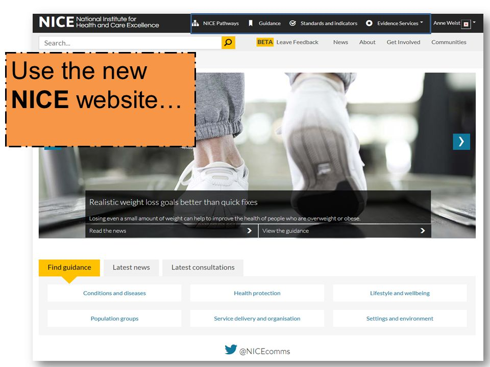 Use the new NICE website…