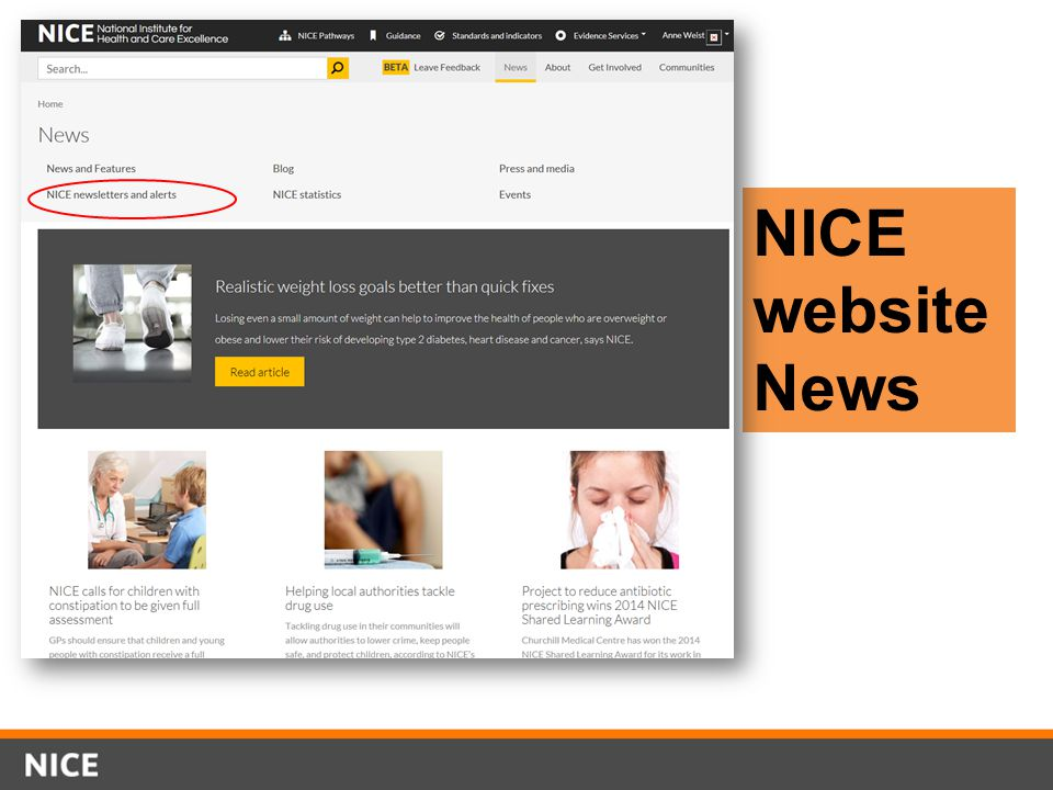 NICE website News