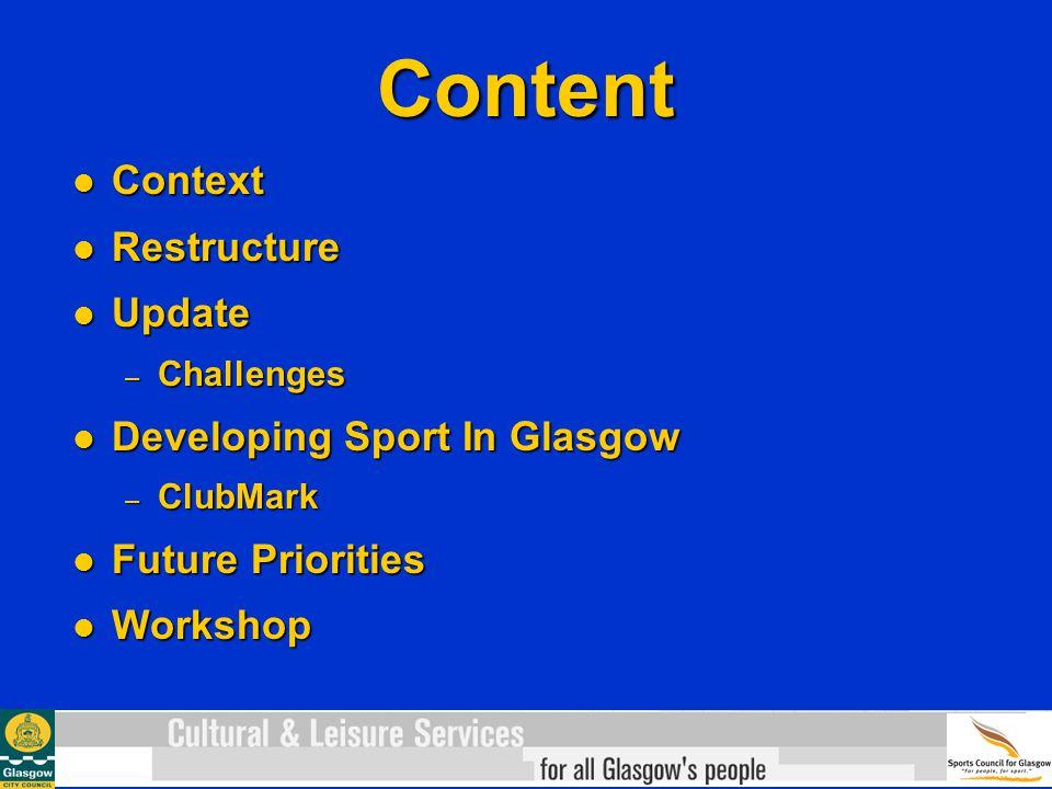 Content Context Context Restructure Restructure Update Update – Challenges Developing Sport In Glasgow Developing Sport In Glasgow – ClubMark Future Priorities Future Priorities Workshop Workshop