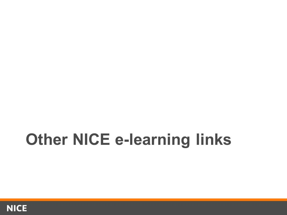Other NICE e-learning links
