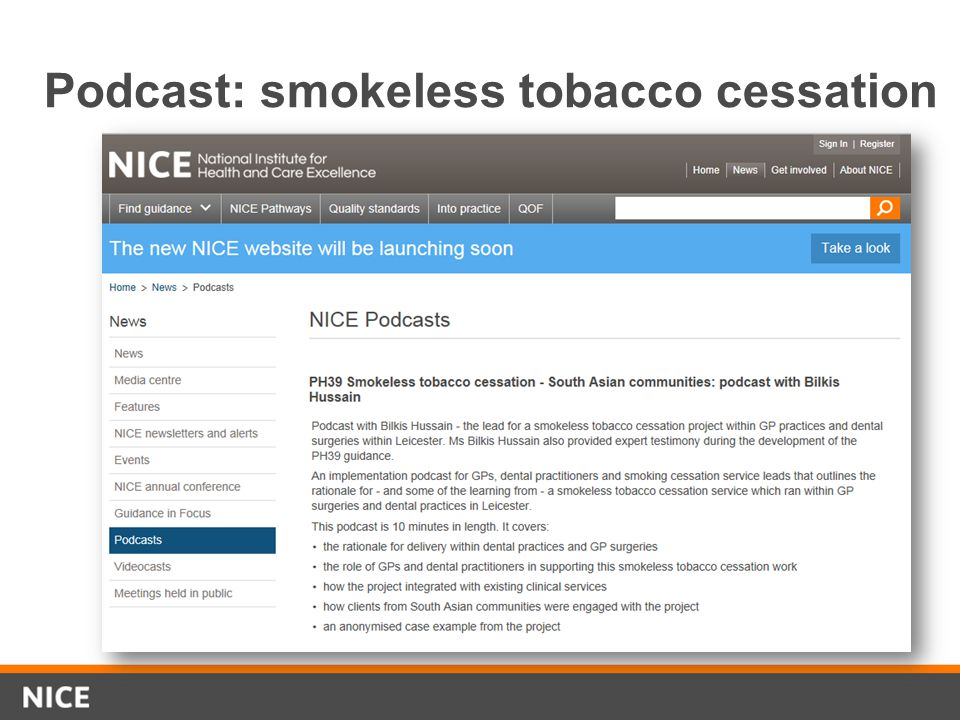 Podcast: smokeless tobacco cessation