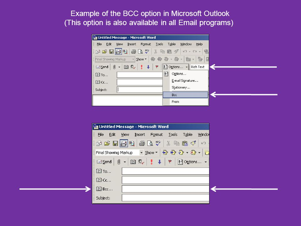Example of the BCC option in Microsoft Outlook (This option is also available in all Email programs)