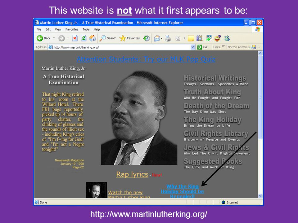 http://www.martinlutherking.org/ This website is not what it first appears to be: