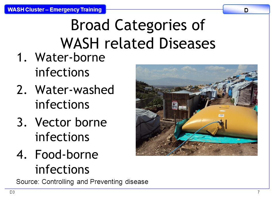 WASH Cluster – Emergency Training D D37 Broad Categories of WASH related Diseases 1.Water-borne infections 2.Water-washed infections 3.Vector borne infections 4.Food-borne infections Source: Controlling and Preventing disease