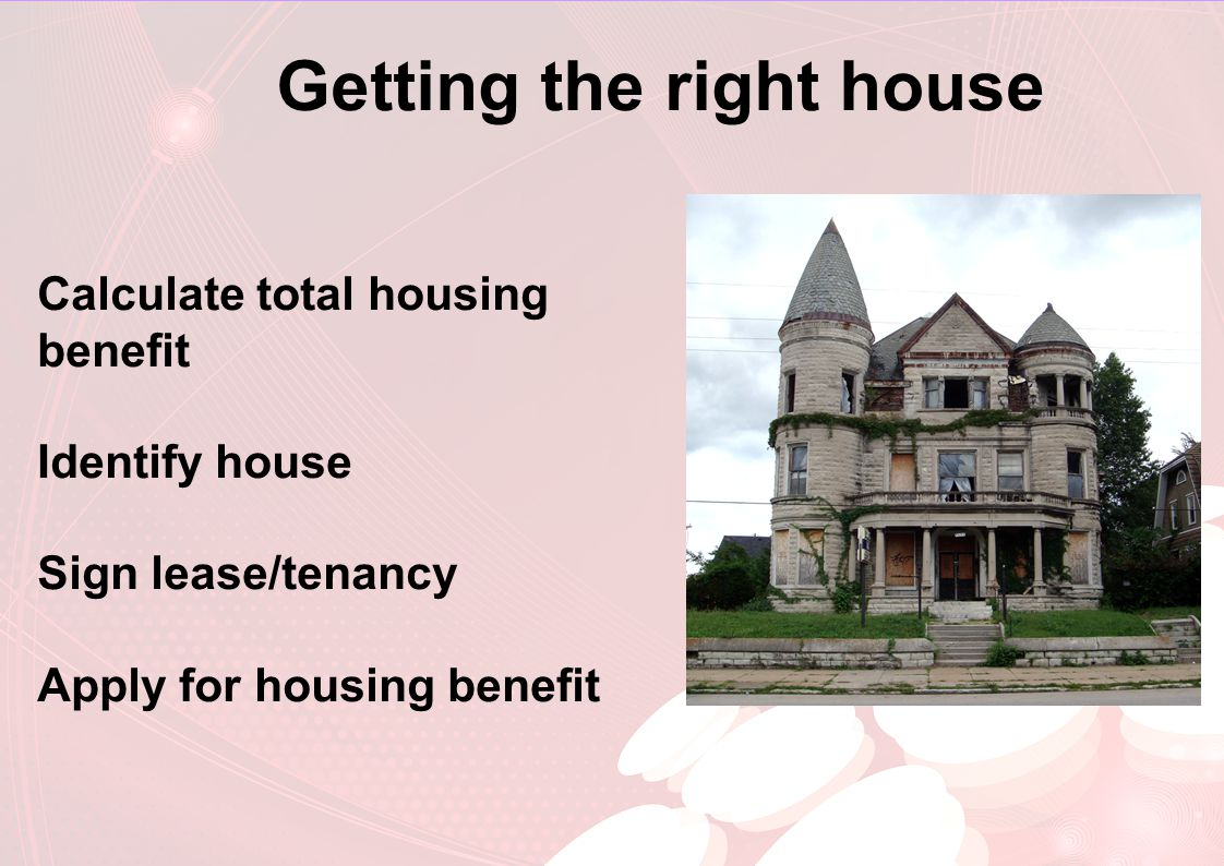 Getting the right house Calculate total housing benefit Identify house Sign lease/tenancy Apply for housing benefit