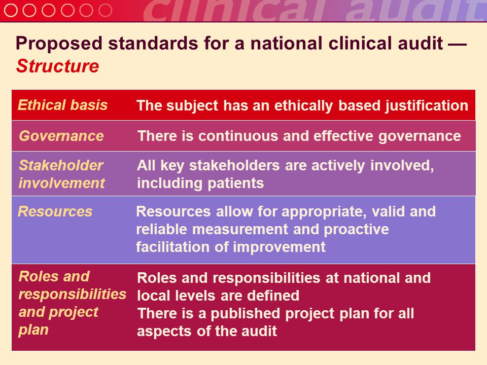 Proposed standards for a national clinical audit — Structure Ethical basis The subject has an ethically based justification Governance There is continuous and effective governance Stakeholder involvement All key stakeholders are actively involved, including patients Resources Resources allow for appropriate, valid and reliable measurement and proactive facilitation of improvement Roles and responsibilities and project plan Roles and responsibilities at national and local levels are defined There is a published project plan for all aspects of the audit