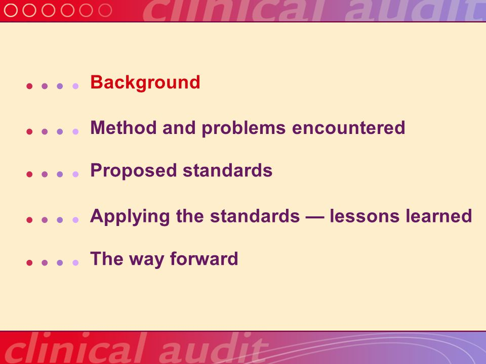 Proposed standards for a national clinical audit — Process Pilot testing The entire design, process and tools are pilot tested Reliability testing Reliability of data collected or acquired is tested Data linkages Links to any electronic record systems are secure Data quality management and assurance Data are quality assured and analysed appropriately Preliminary data and peer review Data are available on a timely basis for local peer review