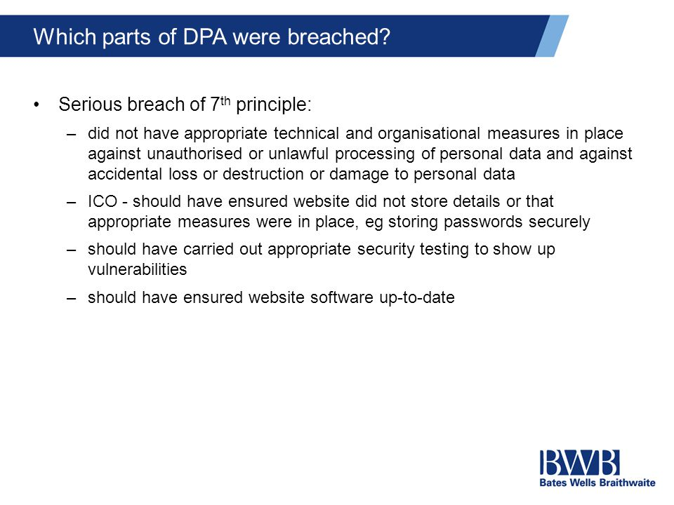 Which parts of DPA were breached.