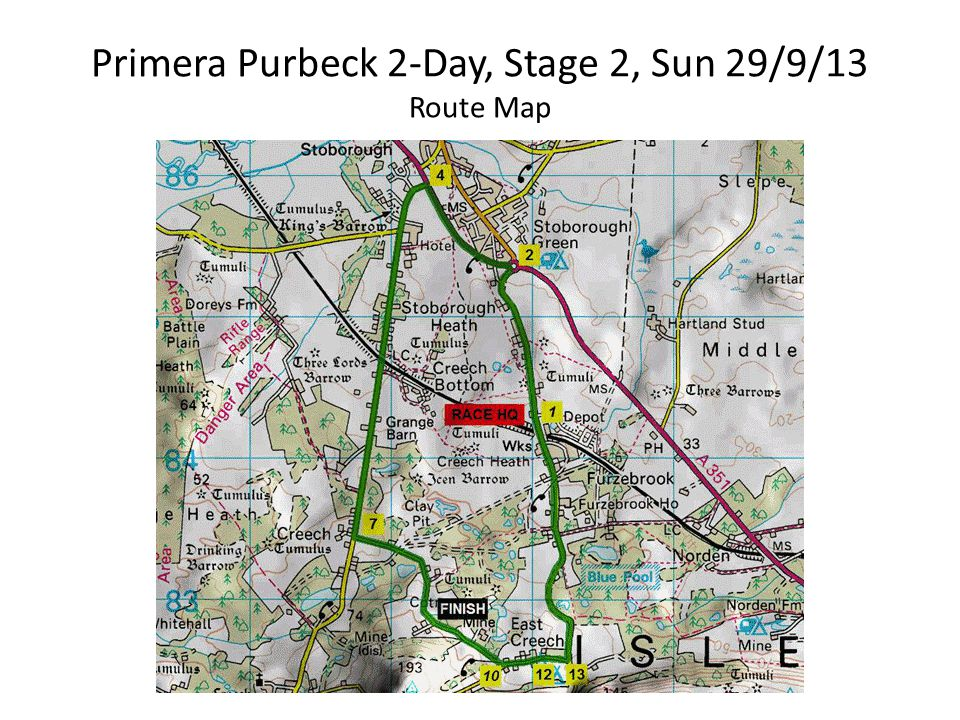 Primera Purbeck 2-Day, Stage 2, Sun 29/9/13 Route Map
