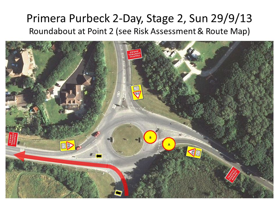 Primera Purbeck 2-Day, Stage 2, Sun 29/9/13 Roundabout at Point 2 (see Risk Assessment & Route Map)