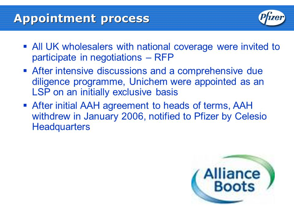  All UK wholesalers with national coverage were invited to participate in negotiations – RFP  After intensive discussions and a comprehensive due diligence programme, Unichem were appointed as an LSP on an initially exclusive basis  After initial AAH agreement to heads of terms, AAH withdrew in January 2006, notified to Pfizer by Celesio Headquarters Appointment process