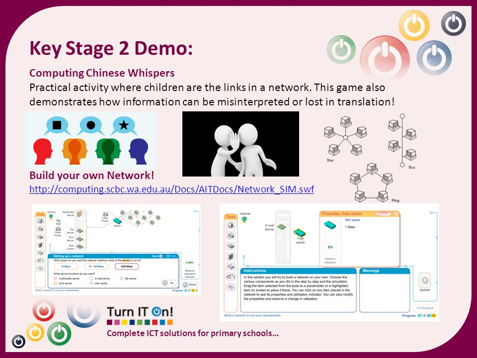 Complete ICT solutions for primary schools… Computing Chinese Whispers Practical activity where children are the links in a network. This game also de