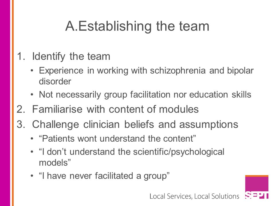 A.Establishing the team 1.Identify the team Experience in working with schizophrenia and bipolar disorder Not necessarily group facilitation nor education skills 2.Familiarise with content of modules 3.Challenge clinician beliefs and assumptions Patients wont understand the content I don't understand the scientific/psychological models I have never facilitated a group