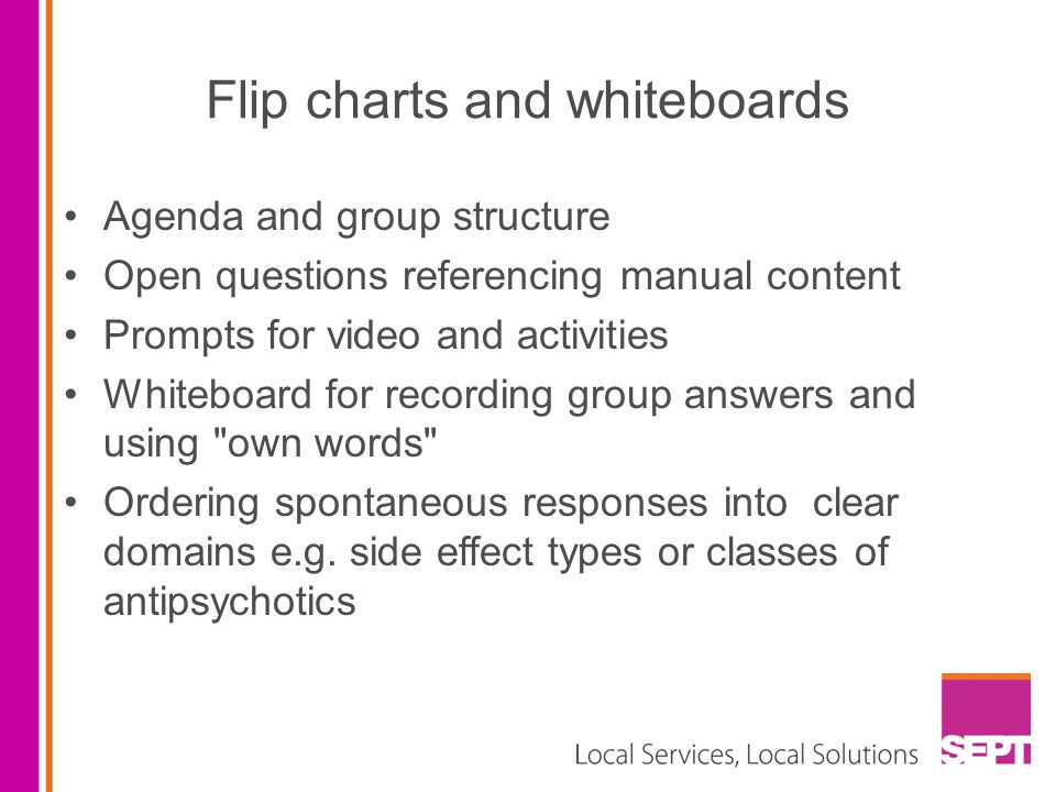 Flip charts and whiteboards Agenda and group structure Open questions referencing manual content Prompts for video and activities Whiteboard for recording group answers and using own words Ordering spontaneous responses into clear domains e.g.