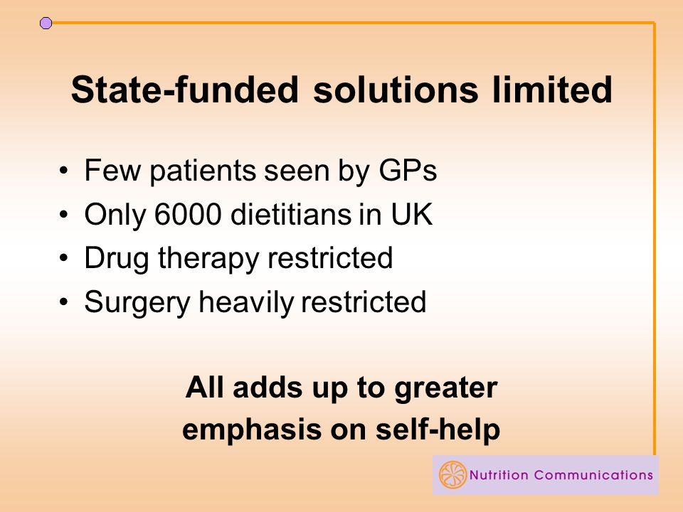 State-funded solutions limited Few patients seen by GPs Only 6000 dietitians in UK Drug therapy restricted Surgery heavily restricted All adds up to greater emphasis on self-help