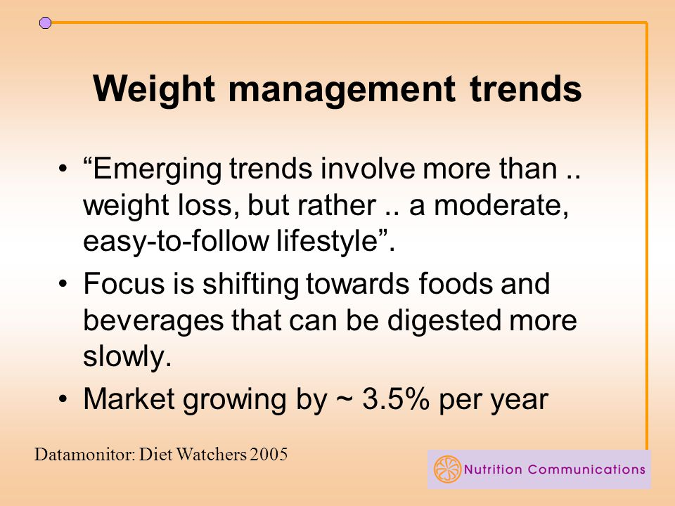 Weight management trends Emerging trends involve more than..