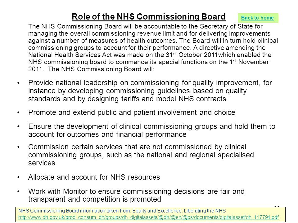 11 Role of the NHS Commissioning Board The NHS Commissioning Board will be accountable to the Secretary of State for managing the overall commissionin