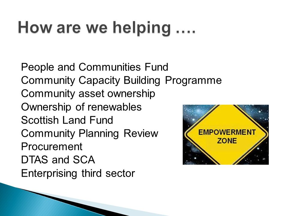 People and Communities Fund Community Capacity Building Programme Community asset ownership Ownership of renewables Scottish Land Fund Community Planning Review Procurement DTAS and SCA Enterprising third sector