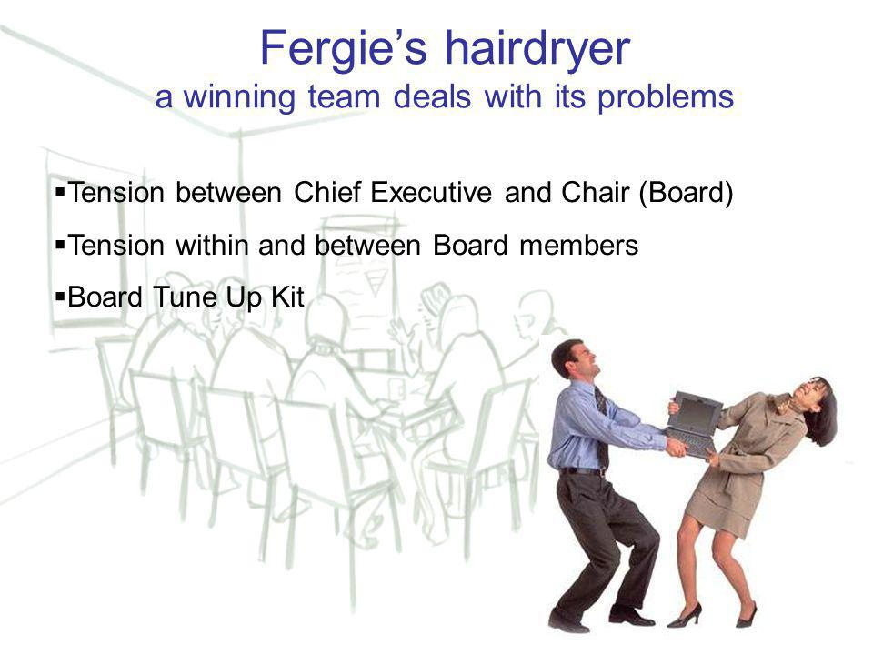 10 Fergie's hairdryer a winning team deals with its problems  Tension between Chief Executive and Chair (Board)  Tension within and between Board members  Board Tune Up Kit