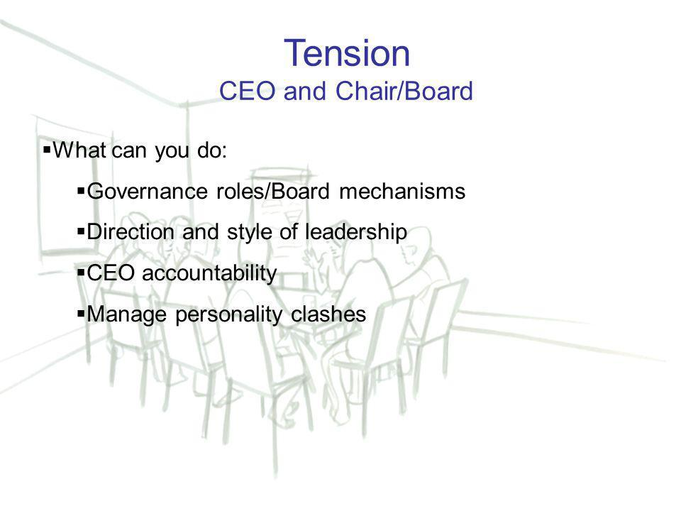 13 Tension CEO and Chair/Board  What can you do:  Governance roles/Board mechanisms  Direction and style of leadership  CEO accountability  Manage personality clashes