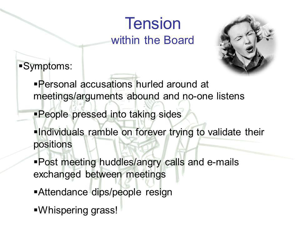 14 Tension within the Board  Symptoms:  Personal accusations hurled around at meetings/arguments abound and no-one listens  People pressed into taking sides  Individuals ramble on forever trying to validate their positions  Post meeting huddles/angry calls and e-mails exchanged between meetings  Attendance dips/people resign  Whispering grass!