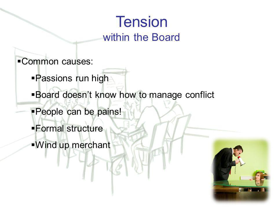 15 Tension within the Board  Common causes:  Passions run high  Board doesn't know how to manage conflict  People can be pains.