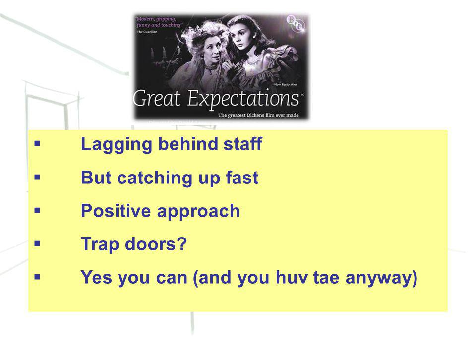 20  Lagging behind staff  But catching up fast  Positive approach  Trap doors.