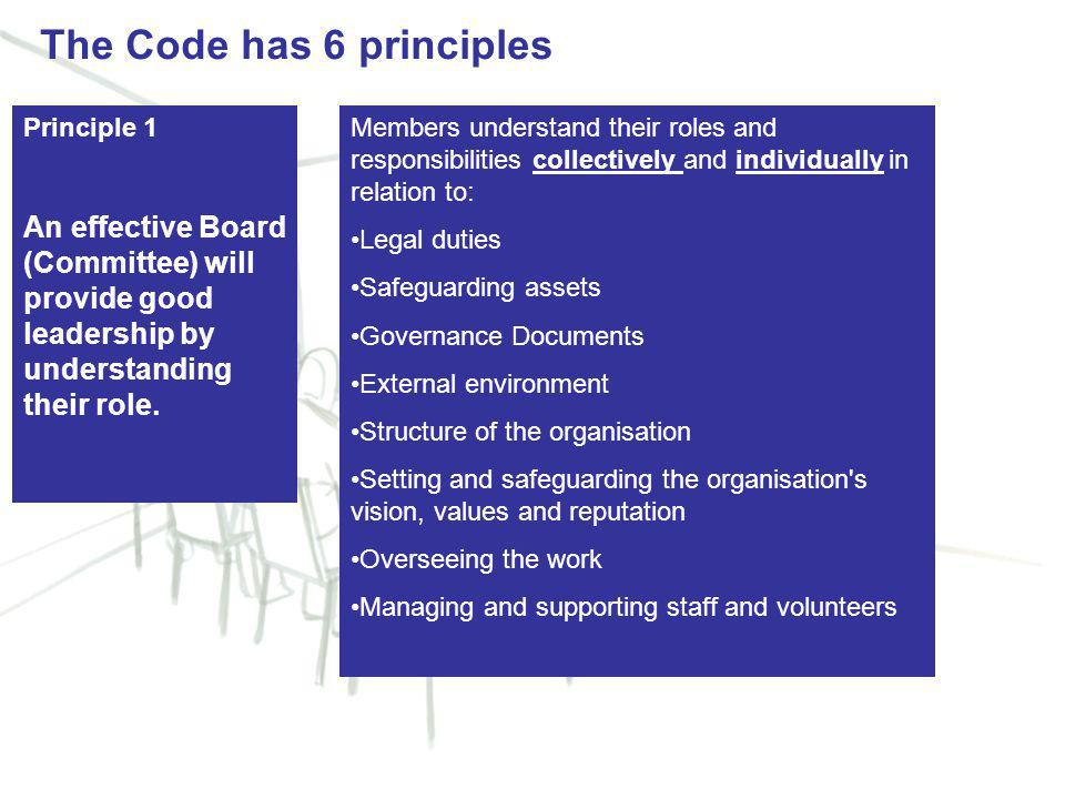 5 Principle 1 An effective Board (Committee) will provide good leadership by understanding their role.