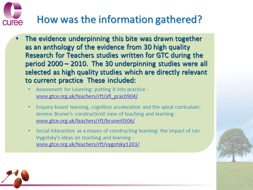 How was the information gathered? The evidence underpinning this bite was drawn together as an anthology of the evidence from 30 high quality Research
