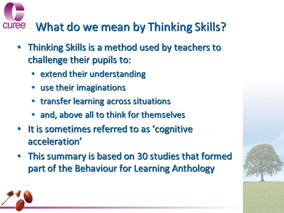 What do we mean by Thinking Skills? Thinking Skills is a method used by teachers to challenge their pupils to: Thinking Skills is a method used by tea