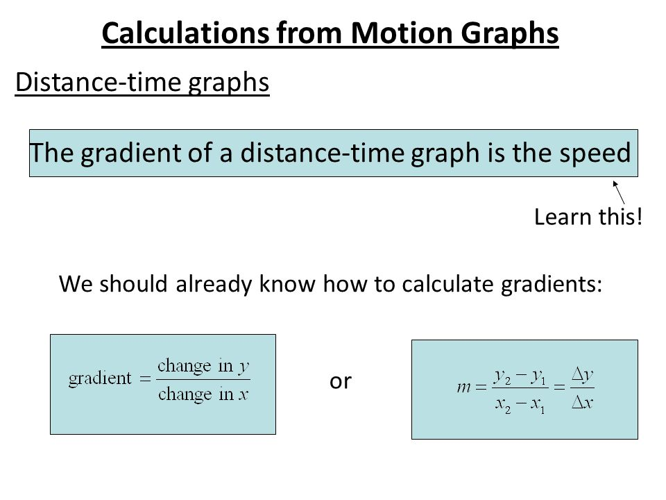 Calculations from Motion Graphs Distance-time graphs The gradient of a distance-time graph is the speed We should already know how to calculate gradients: Learn this.