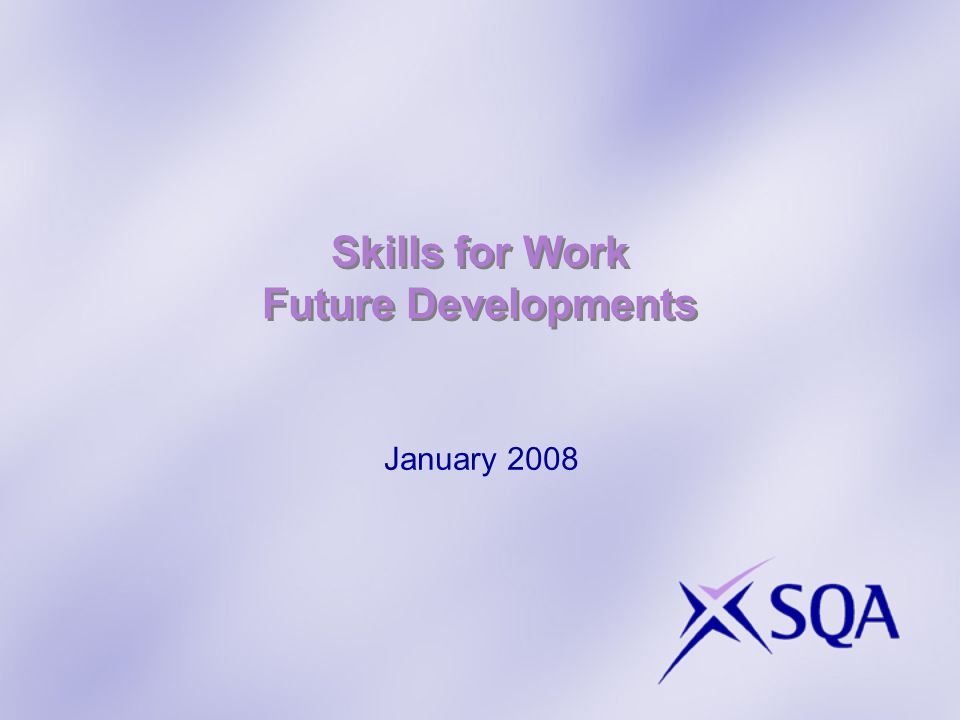 Skills for Work Future Developments January 2008