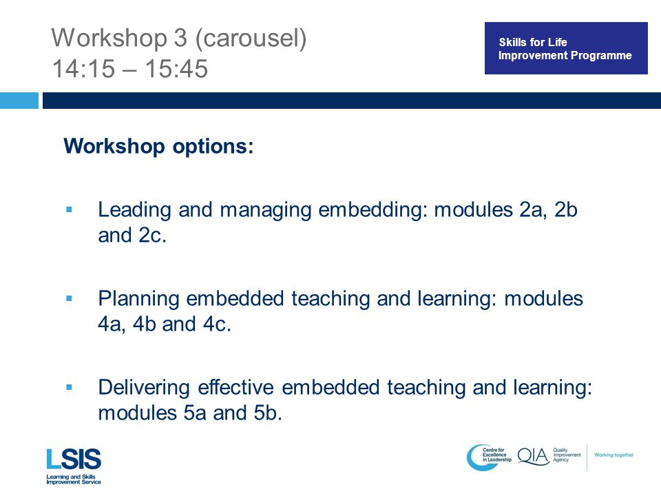 Skills for Life Improvement Programme Workshop 3 (carousel) 14:15 – 15:45 Workshop options:  Leading and managing embedding: modules 2a, 2b and 2c.
