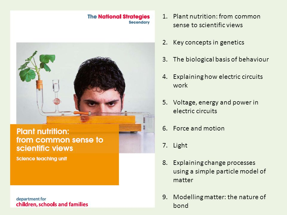 1.Plant nutrition: from common sense to scientific views 2.Key concepts in genetics 3.The biological basis of behaviour 4.Explaining how electric circuits work 5.Voltage, energy and power in electric circuits 6.Force and motion 7.Light 8.Explaining change processes using a simple particle model of matter 9.Modelling matter: the nature of bond