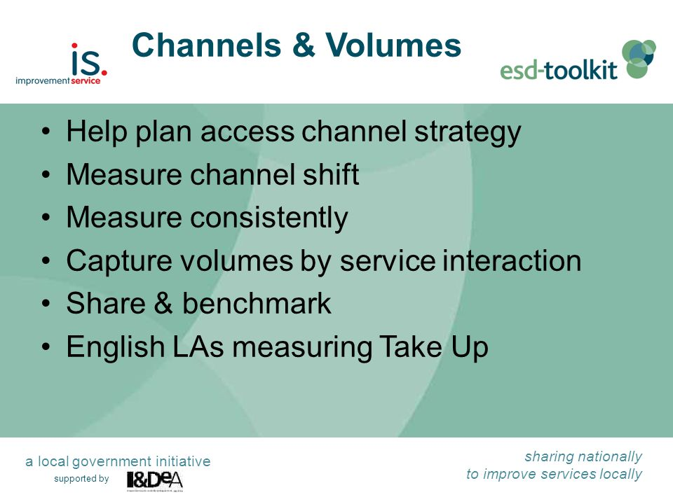 supported by sharing nationally to improve services locally a local government initiative Channels & Volumes Help plan access channel strategy Measure