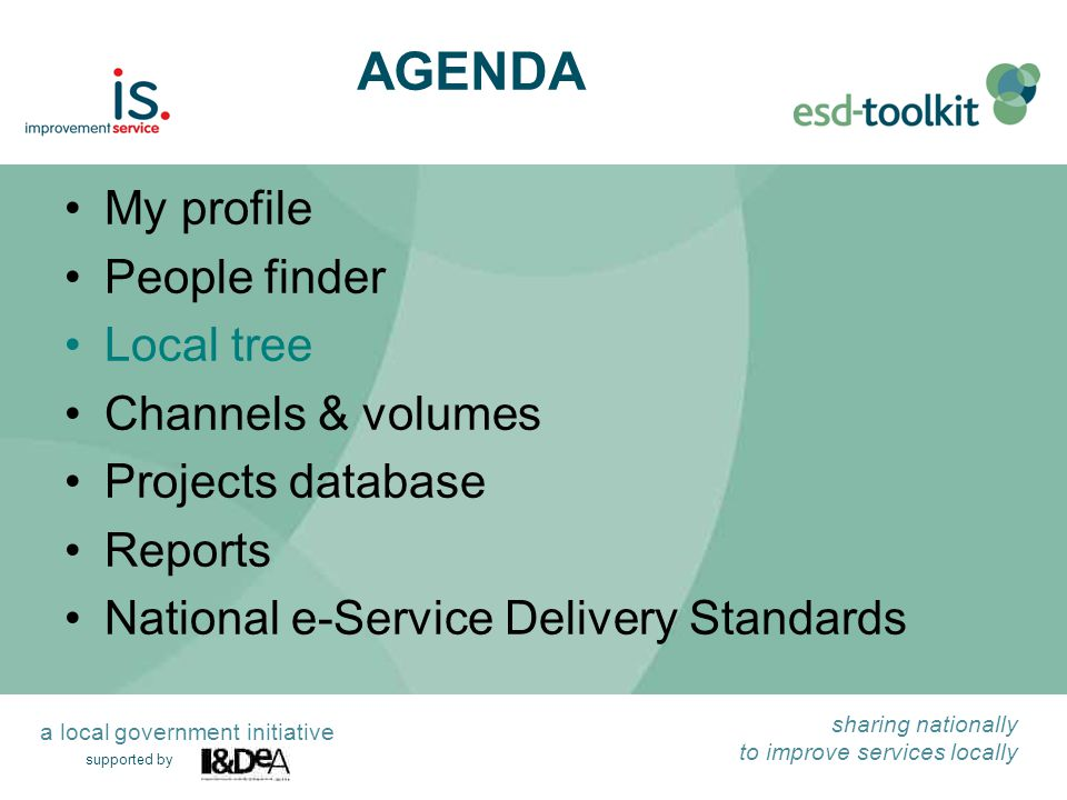 supported by sharing nationally to improve services locally a local government initiative My profile People finder Local tree Channels & volumes Projects database Reports National e-Service Delivery Standards AGENDA