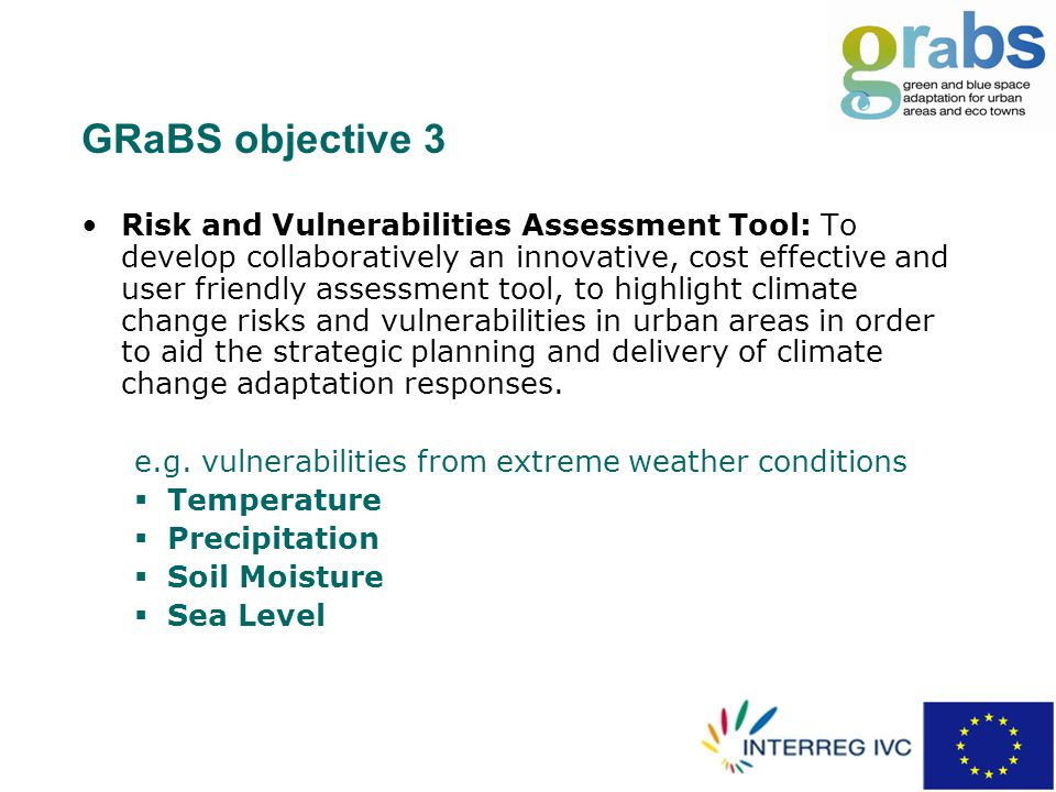 GRaBS objective 3 Risk and Vulnerabilities Assessment Tool: To develop collaboratively an innovative, cost effective and user friendly assessment tool, to highlight climate change risks and vulnerabilities in urban areas in order to aid the strategic planning and delivery of climate change adaptation responses.