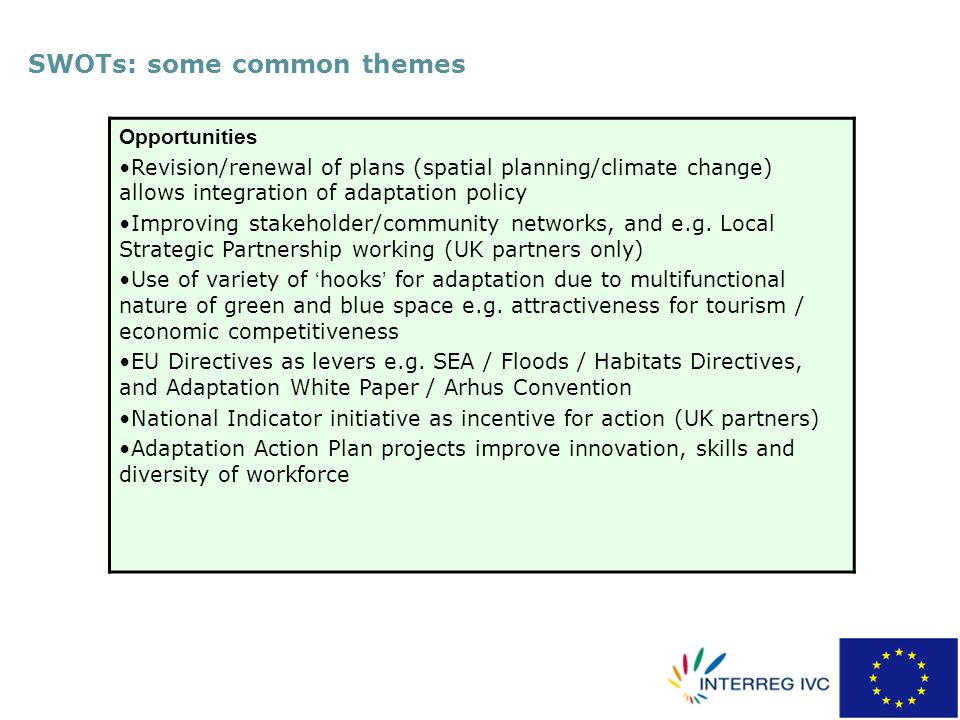 SWOTs: some common themes Opportunities Revision/renewal of plans (spatial planning/climate change) allows integration of adaptation policy Improving stakeholder/community networks, and e.g.