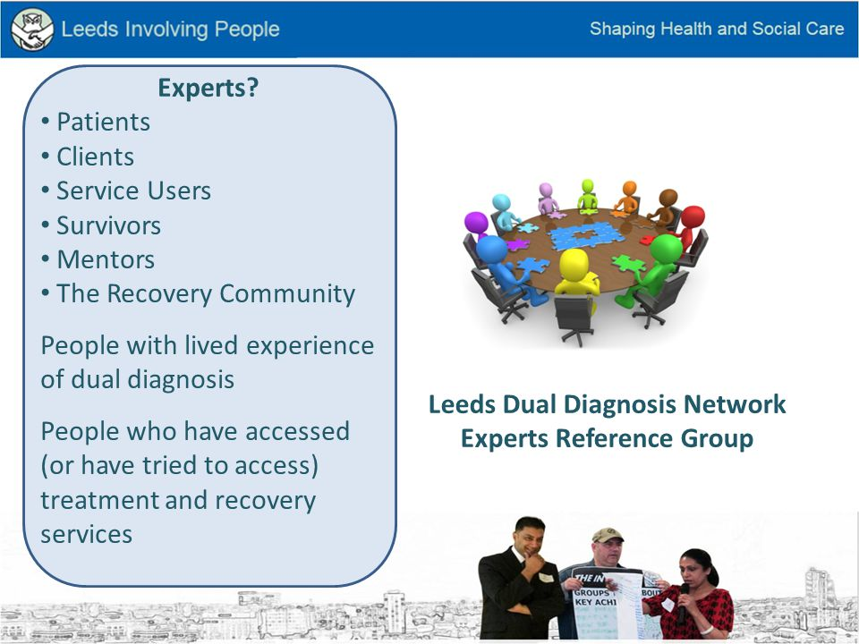 Involvement Network Experts Reference Group Voluntary Sector Mental Health Groups Peer Support Recovery Groups Hostels Residents Groups LYPFT Groups Adult Social Care Mental Health Groups Leeds Community Drugs Partnership Groups Safer Leeds Groups