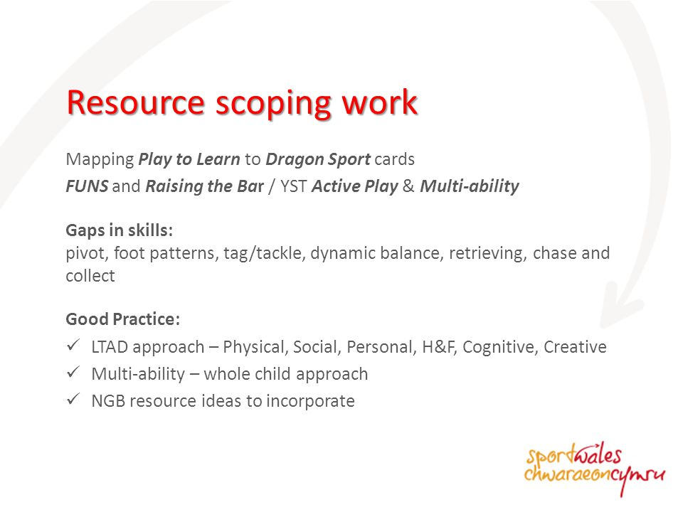 Mapping Play to Learn to Dragon Sport cards FUNS and Raising the Bar / YST Active Play & Multi-ability Gaps in skills: pivot, foot patterns, tag/tackle, dynamic balance, retrieving, chase and collect Good Practice: LTAD approach – Physical, Social, Personal, H&F, Cognitive, Creative Multi-ability – whole child approach NGB resource ideas to incorporate Resource scoping work