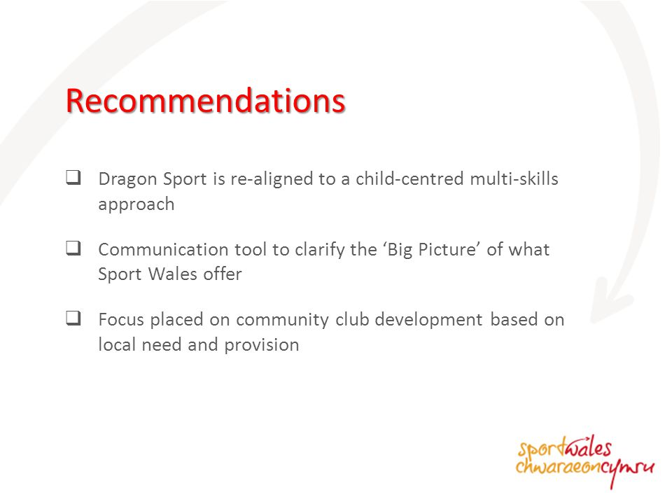  Dragon Sport is re-aligned to a child-centred multi-skills approach  Communication tool to clarify the 'Big Picture' of what Sport Wales offer  Focus placed on community club development based on local need and provision Recommendations