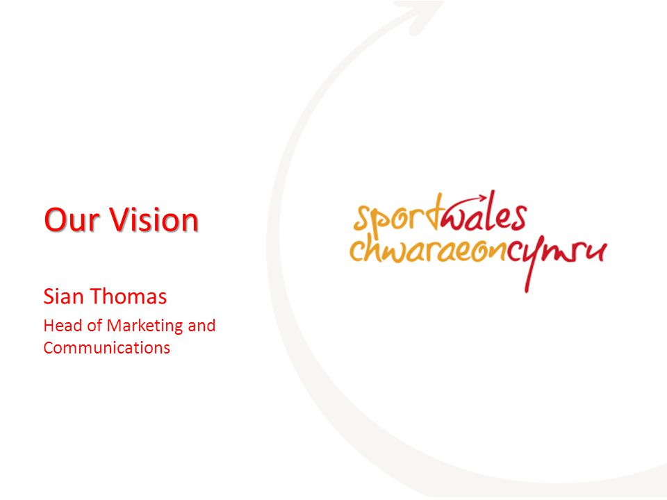Our Vision Sian Thomas Head of Marketing and Communications