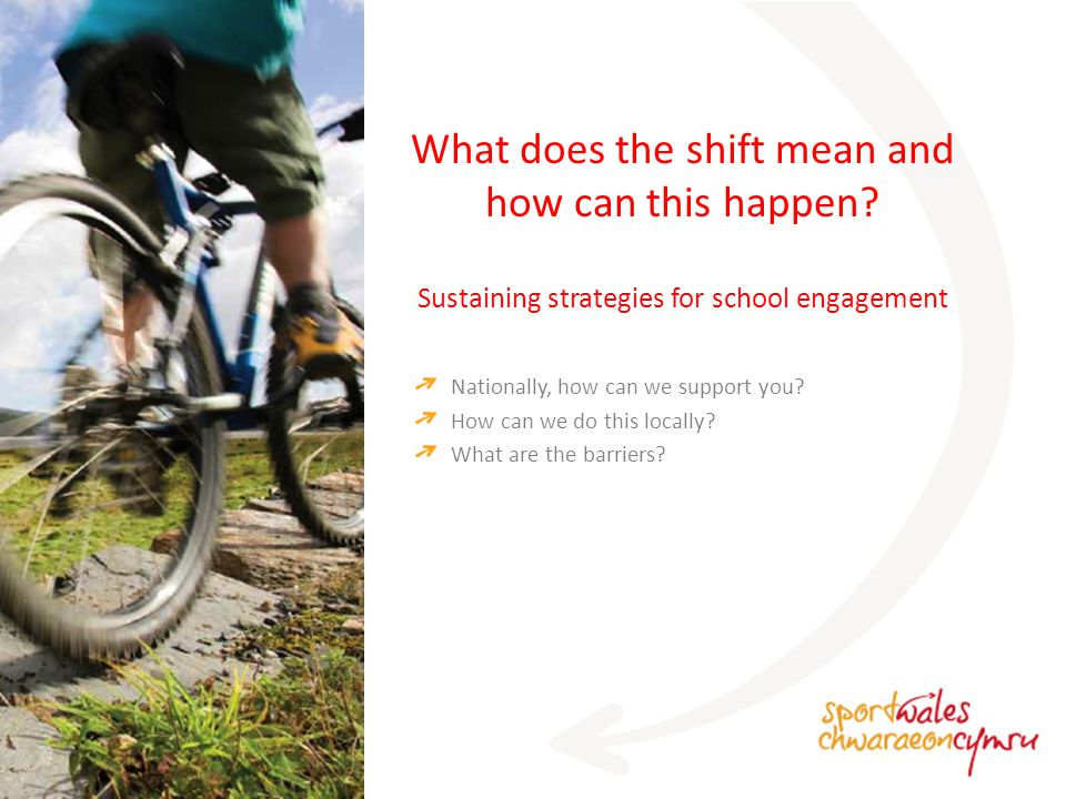 Sustaining strategies for school engagement What does the shift mean and how can this happen.