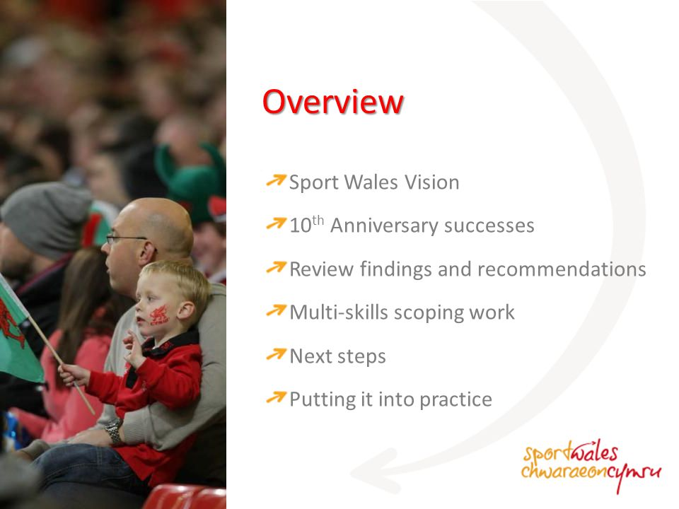 Overview Sport Wales Vision 10 th Anniversary successes Review findings and recommendations Multi-skills scoping work Next steps Putting it into practice