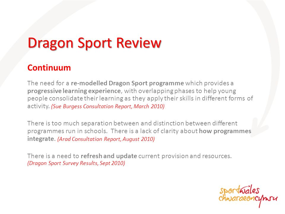 The need for a re-modelled Dragon Sport programme which provides a progressive learning experience, with overlapping phases to help young people consolidate their learning as they apply their skills in different forms of activity.