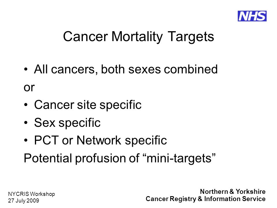 Northern & Yorkshire Cancer Registry & Information Service NHS NYCRIS Workshop 27 July 2009 Cancer Mortality Targets All cancers, both sexes combined or Cancer site specific Sex specific PCT or Network specific Potential profusion of mini-targets
