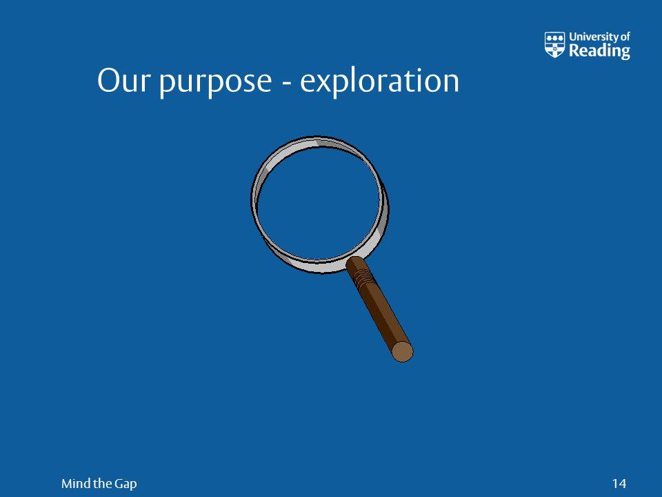 Mind the Gap14 Our purpose - exploration